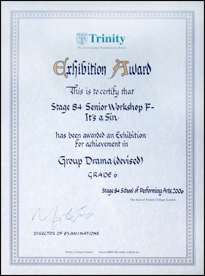 2006 Trinity College London Exhibition Award for Stage 84