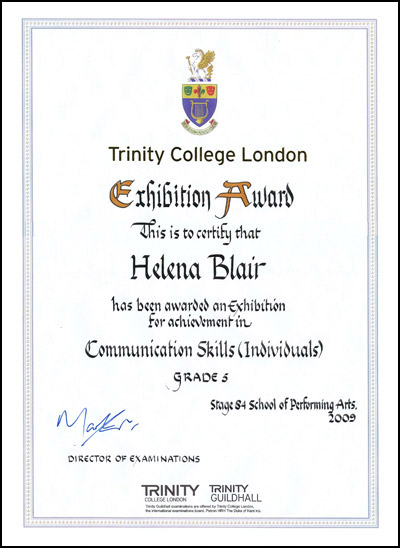 2009 Trinity College London Exhibition Award