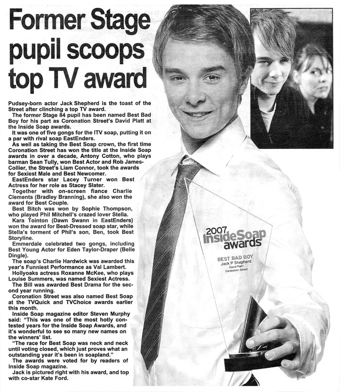 Former Stage 84 pupil Jack P. Shepherd scoops TV award