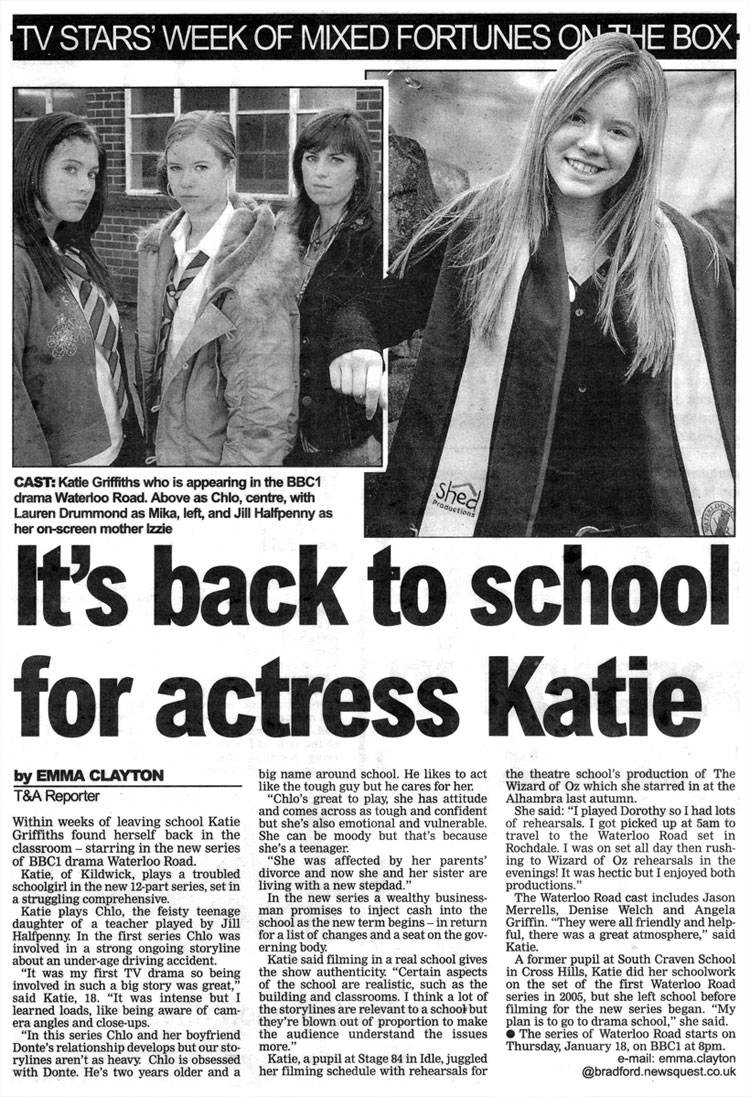 Stage 84 pupil Katie Griffiths stars in Waterloo Road
