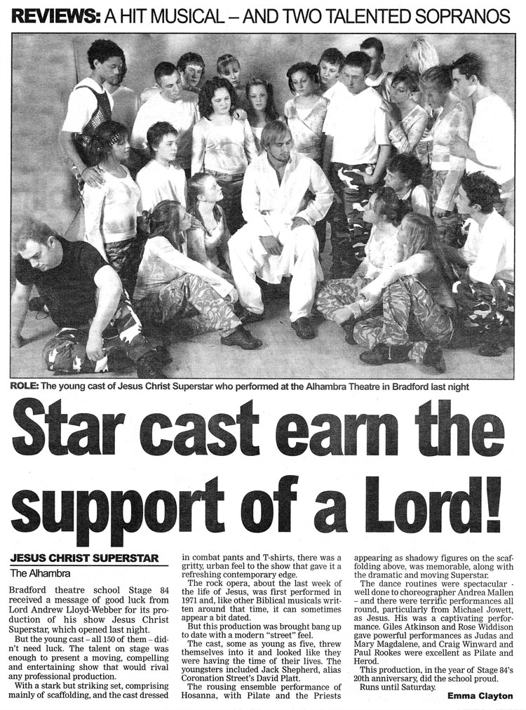 Stage 84 present Jesus Christ Superstar