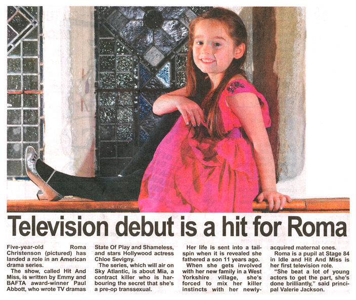 Television debut is a hit for Stage 84 pupil Roma